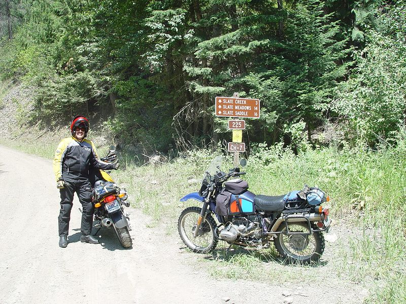 Alex, and his R1150GS, my R80G/S, on Forest Service Road #225 in Idaho.  This was a very fun road to ride, many water crossings, rocks, ruts, corners and drop offs.