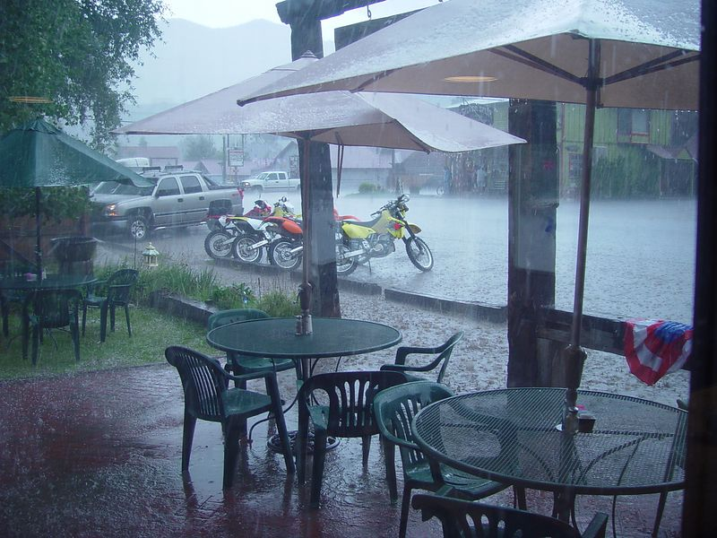 Heavy rain in front of where we had lunch.