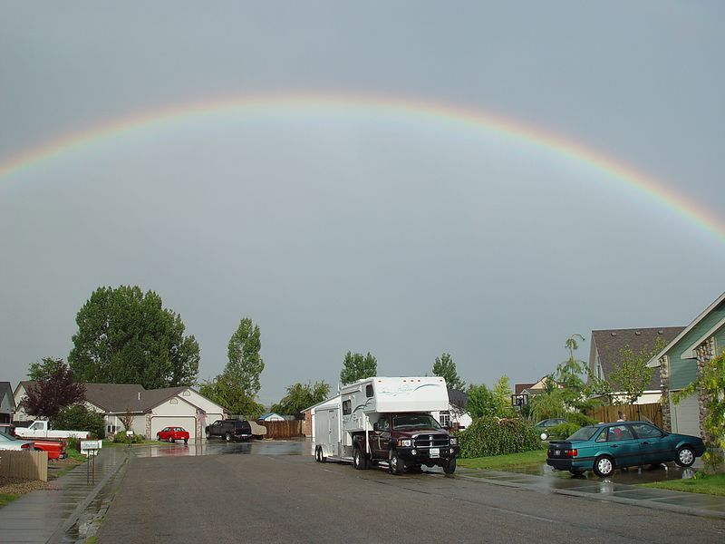 I spent the night at Jay's home in Idaho, we had just been rained on very heavily, check out the great rainbow.