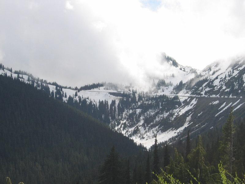 Looking back at Chinook Pass on WA SR 410
