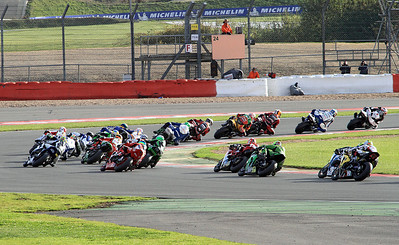 British Superbikes Race 2 as the riders head round Becketts and into Chappel.