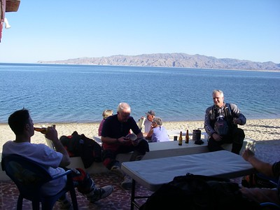 Boys on the patio At Alfonsinas - Sea or Cortes in the background.