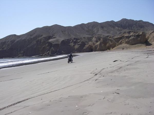 Riding the beach at Bahia Tortugas
