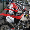 A row of freshy shod and prepped Hondas awaits us.  Our fleet includes XR400s, CRF450Xs and XR650Rs.