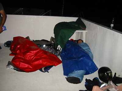 We camped on top of the bar at Alphonsina's. That half wall shielded us from the wind and rain well enough to get a good night's sleep.