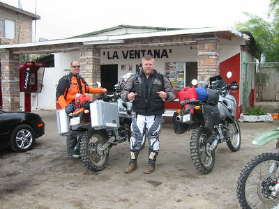Getting a Coke at La Ventana [the Windy Place] on the edge of the dry lake.