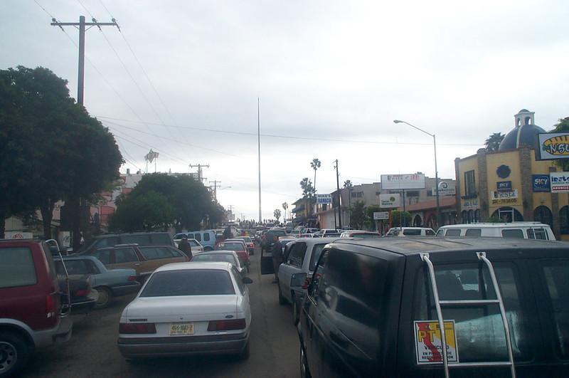 Traffic jam in Ensenada