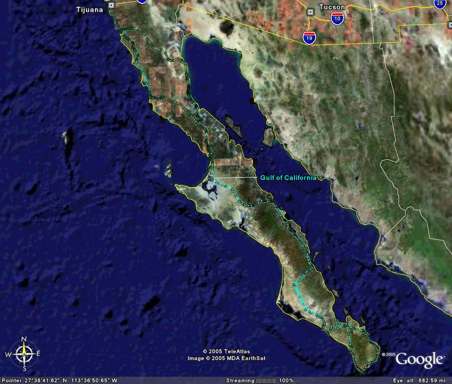 The Baja peninsula - our GPS tracks indicated faint green line.