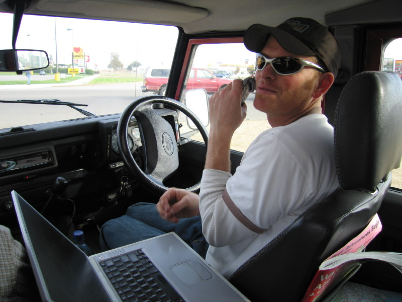 Matt - browsing the web at a truck stop.