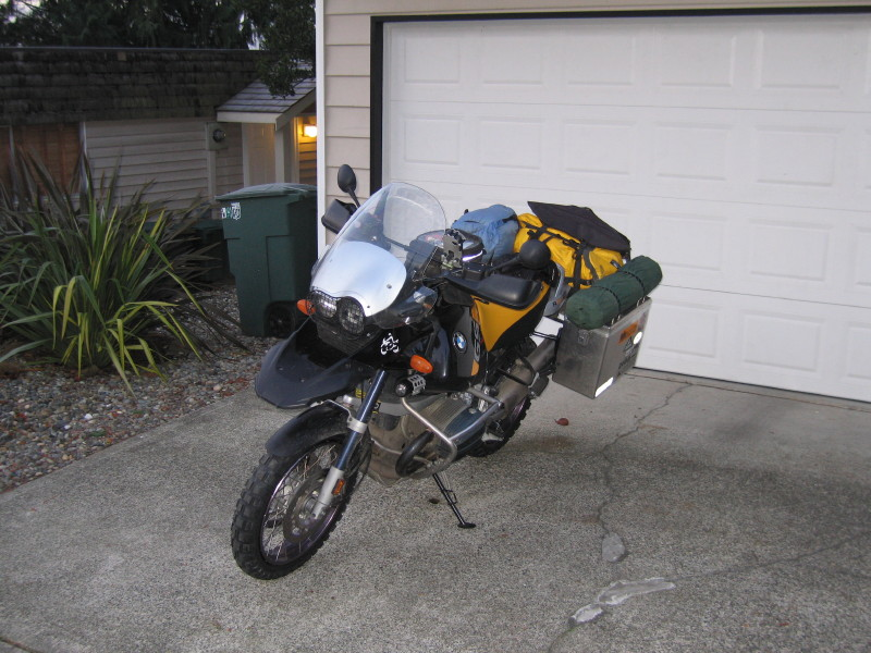 "Obligatory ""packed and ready to roll"" pic. Saturday morning, 7:00 AM, and temps hovering around freezing. Bike was shod with freshie TKC 80's."