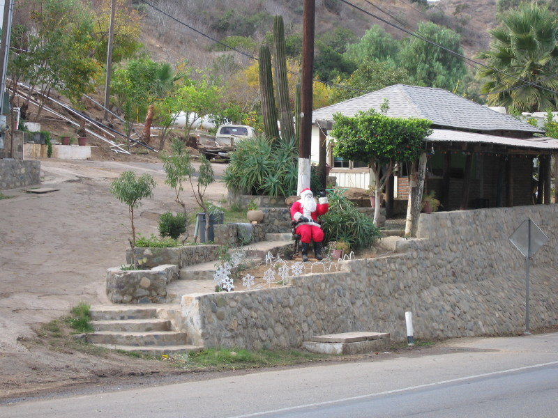 Santa - Baja style in front of a cactus.
