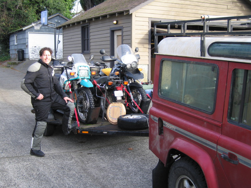 The scoots loaded on the trailer, and ready to head down south.