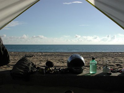 Next morning - camping under a palapa on a deserted beach, just south of San Felipe.