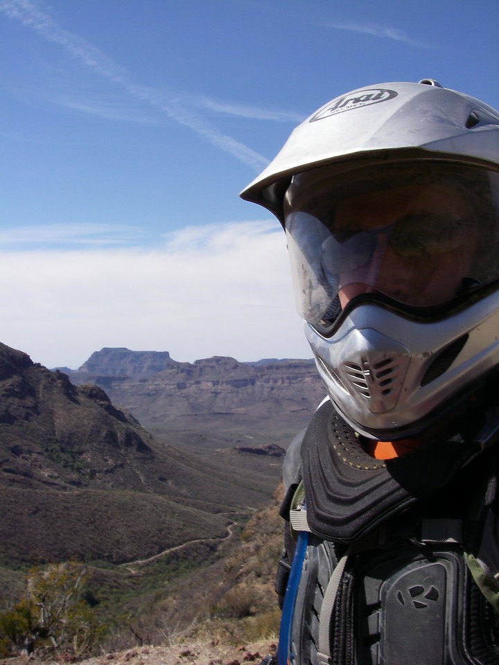 Me, with the San Pedro canyon behind me.  This is one of the last breathers I would take until nightfall...
