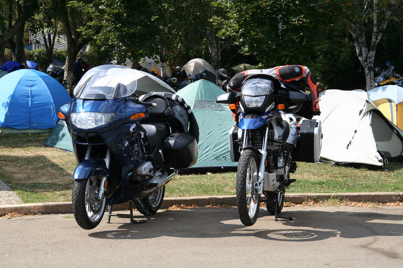 My bike and Danny's bike parked in front of our tents.