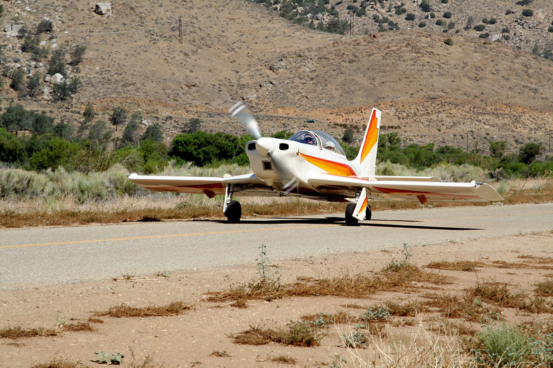 Taxiing down the runway at Kern Valley Airport.