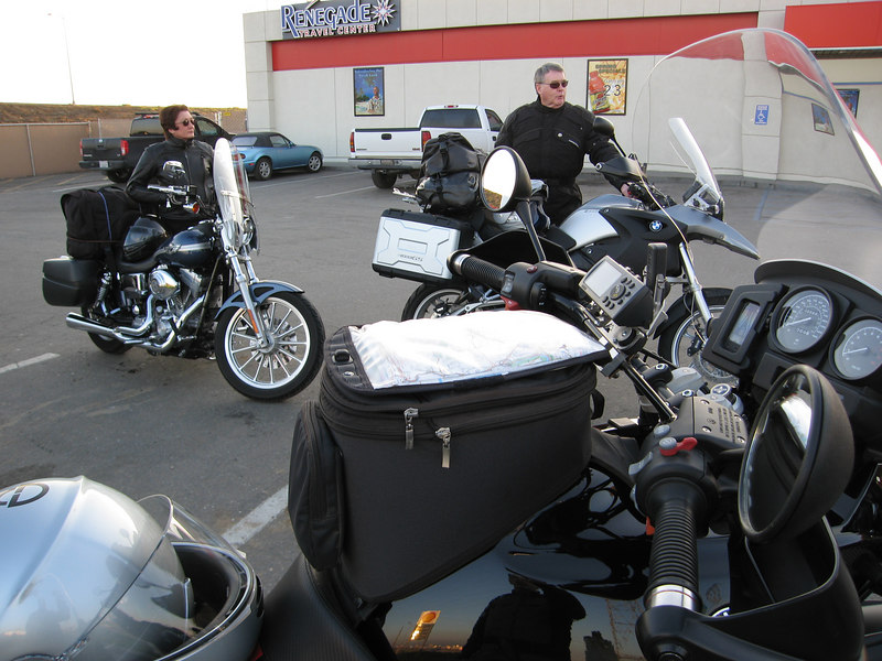 Our trip began with a meeting at the Shell station off Hwy 58. Here's Bonnie and Roland getting ready.