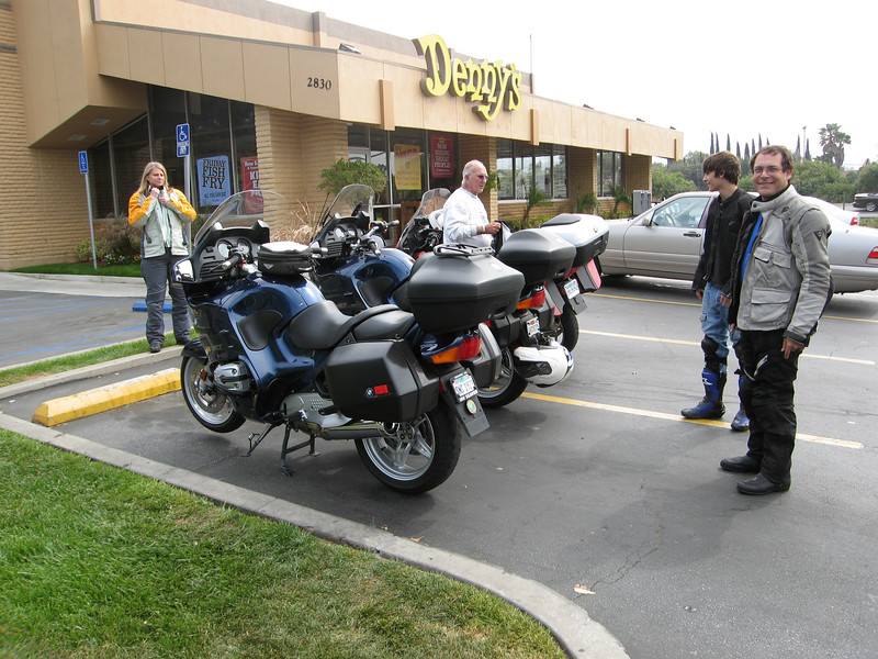 Lunch at Denny's. Saying goodbye to the trusty RT as the folks at BMW of Ventura ready our new R1200GS Adventure.