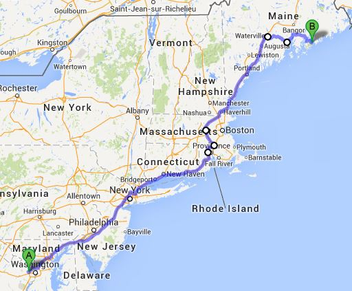 Ok, here we go. This was my route up to Bar Harbor, where Lisa had been invited to attend a conference because she is a hearing loss science rockstar. Because of needing to save my vacation days, I did not take a day to travel up: instead, I left after work on Tuesday (9/17). Spend the night on I-95, anyone...? Oh yes.<br /> <br /> Departure time was 7:30pm. Let me be the first to tell you (probably the first...I mean, really): I-95 gets a lot more civilized after 11pm. There were stretches of the NJ Turnpike and, later, CT, where I was alone on the road. Luxury!<br /> <br /> I mentally blew a kiss to mom and dad in Stamford as I rolled through sometime around 2am. I stopped every 90 minutes to get off the bike, eat a little and drink a sip of water. By 3am I was happy to have a cup of nice hot coffee somewhere near Mystic, CT. Sunrise found me taking one of the beltways around Boston, and then New Hamster, and...the Land of Stephen King: Maine.