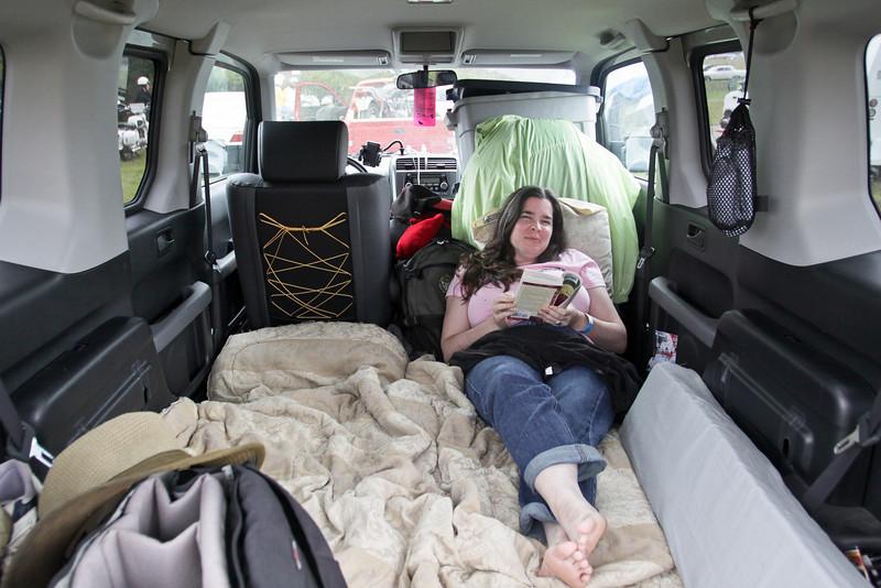 Bobbie camping in the Element at Barber Motorsports Vintage Festival 2009
