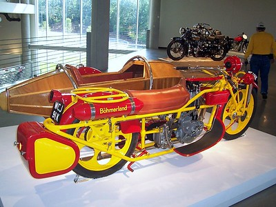 """The Bohmerland from """"Art of the Motorcycle."""" This looks like a contraption from a Dr. Seuss book."""