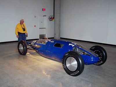 An interesting land speed record vehicle. Dad is standing at the back (in case you can't tell front from back).