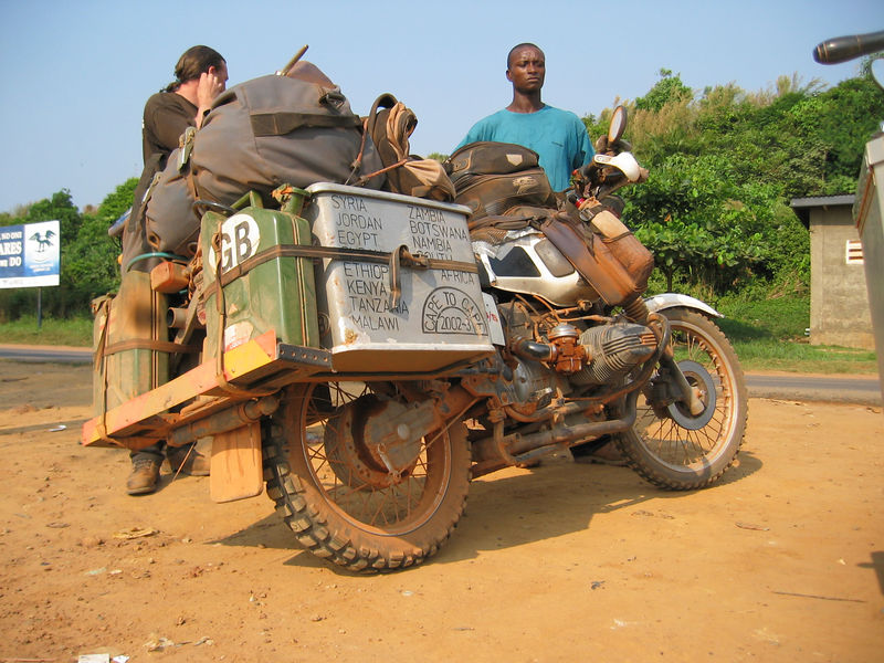 2 valve GS in Freetown, coast of Sierra Leone. Rider is from the UK.