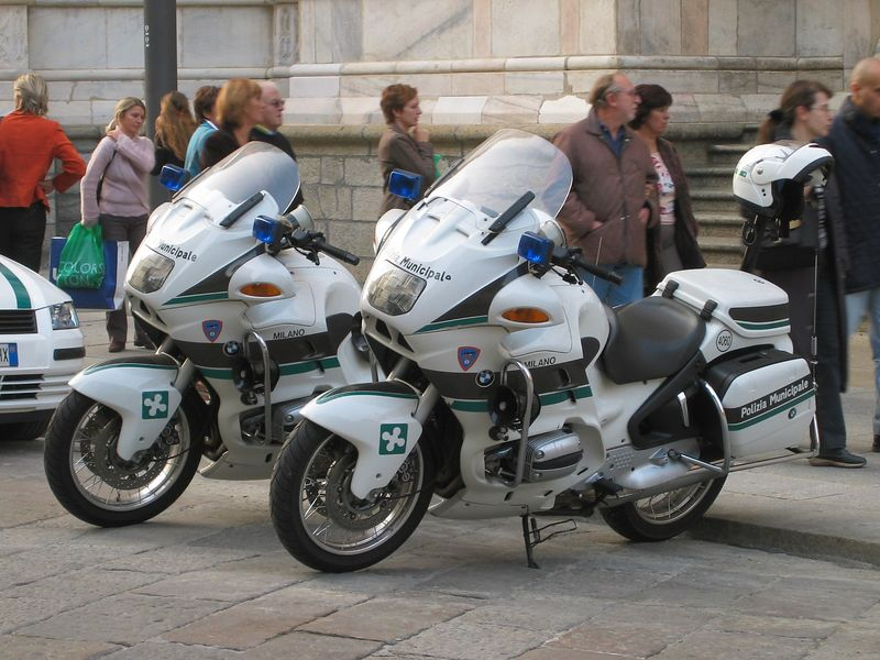 Italy.<br /> Two RTPs from the Polizia Municipale at the Duomo in Milano.