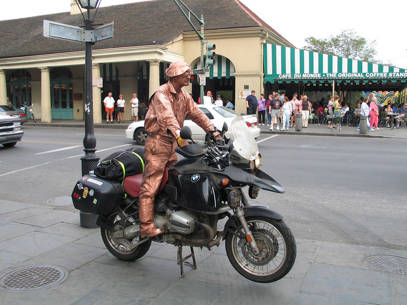 I got the painted guy to pose for this in front of Cafe Du Monde in New Orleans.