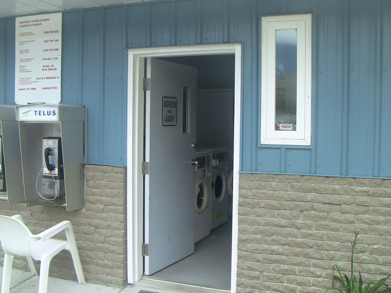 This two-machine laundromat at the harbor is apparently the only laundromat in Bella Coola