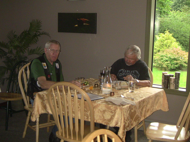 Dale and I had salmon; Cliff had steak.  Gourmet meal preparation at the Eagle Lodge.