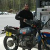 Roma filling up his BMW R80GS.