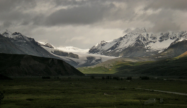 A glacier flowing through the mountains!