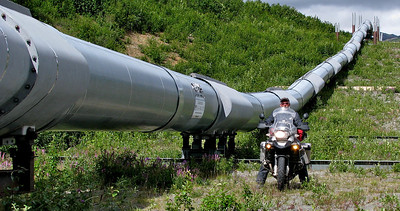 I rode the entire length of the Alaska Pipeline! 800+ miles of pipe from Prudhoe Bay to Valdez!