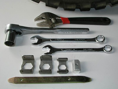 A comparison of the cresent wrench, ratchet, large box wrenches, and the BestHex .   We saved over 2 pounds when we left the big wrenches at home, and took the BestHex instead.