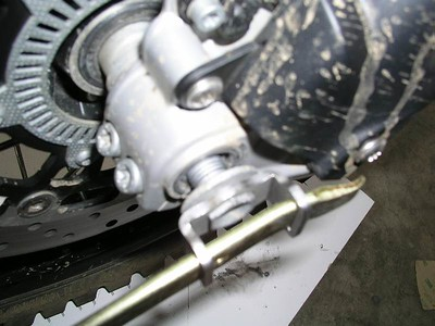 Using the 17mm BestHex to remove the front axle bolt