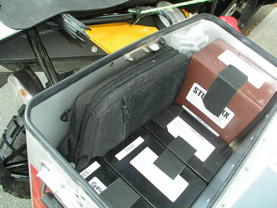 Inside the right pannier.  Laptop, StuffBoxxes full of gear and tools