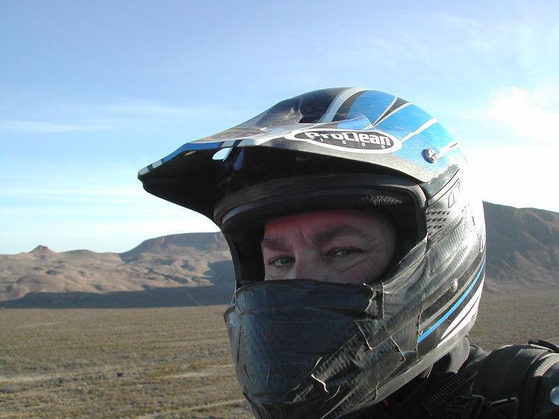 "My customized ""windbeak"" helmet sponsored by Black Duct tape..."