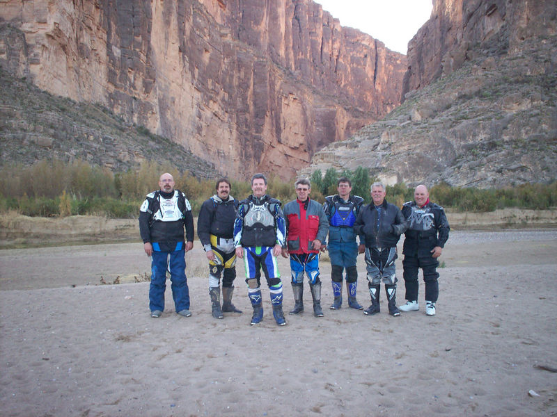 Left to Right - Larry, Ross, Bobby, Darrell, Mike, Alan, Buddy at Santa Elena Canyon along Terlingua Creek with the Rio Grande behind us...