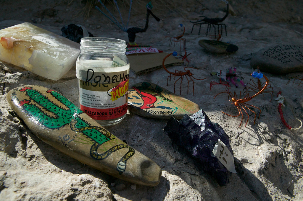 These trinkets are for sale all over Big Bend National Park. Purchase is technically illegal, but doing so helps sustain the few remaining residents of Boquillas, Mexico, a tiny isolated village a few hundred yards away from Big Bend National Park.