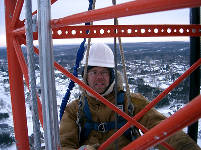 Me on our last day at the Eau Claire tower job at 360 feet. All done and ready to head back to the hotel and the hot tub.