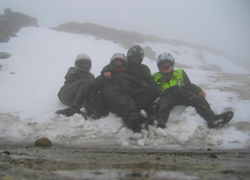 Timmelsjoch 2007, our first pass in the Alps. 1.5°C, fog and snow at 2500m. We're still talking about this moment. Even shitty weather couldn't break the spirit.