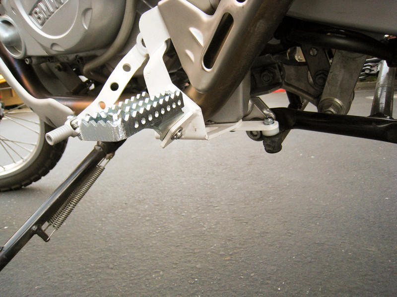 the full leftside of the Footpeg Relocation Kit F650GS w/brake and shifter (Touratech Part Number: 300-0040)