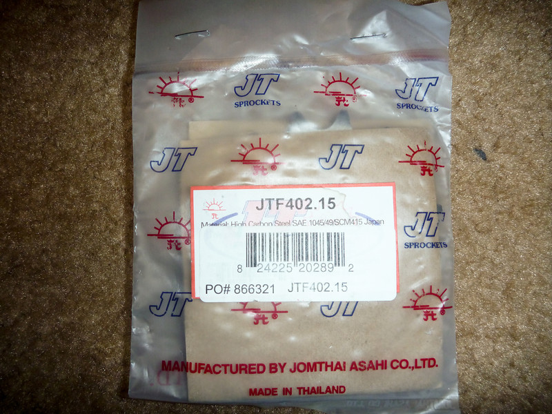 item: 15 tooth front JT sprocket.<br /> <br /> part #: JFT402.15<br /> <br /> condition: new, in original packaging.<br /> <br /> list price: $18<br /> <br /> price: $10