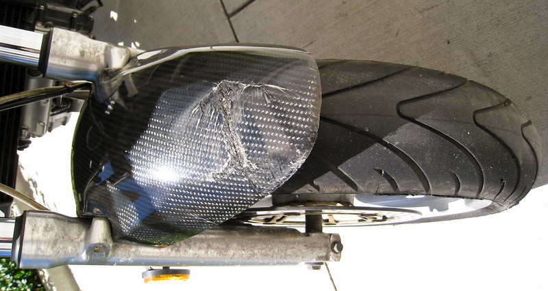 Carbon-Fiber front, crack / damage from previous owner (someone backed into the bike)