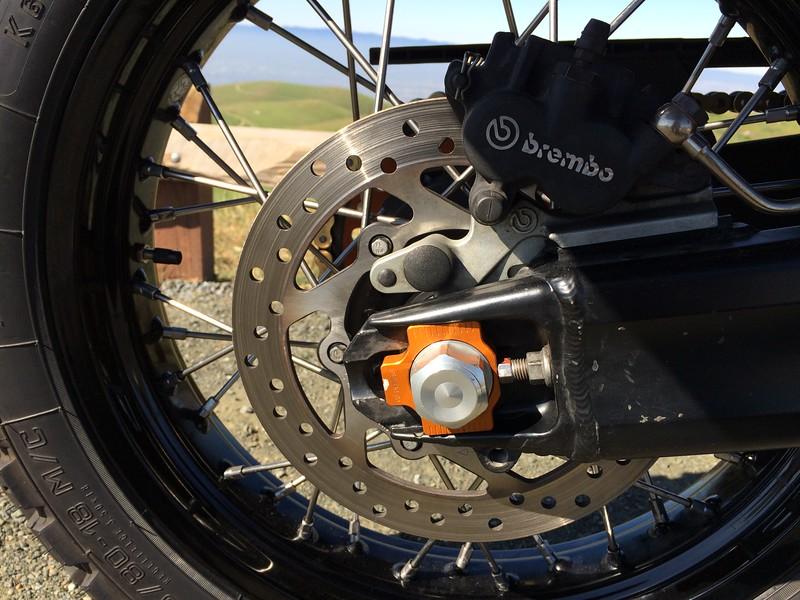 CJ Designs Axle Adjuster Block, Woody's Wheel Works Superlaced Excel Rim