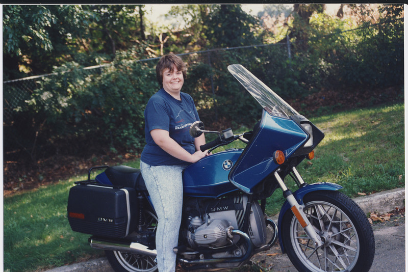 Still have the girl and the bike.   Bike looks better without the vetter fairing.  The girl still cooks me dinner :)  A good combination.<br /> <br /> Photo taken  Summer 1992.