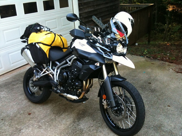 Tiger 800XC, packed and ready to go to Vintage Days in Birmingham