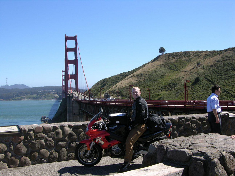 Keith at the Golden Gate Bridge on our return trip from MotoGP at Laguna in '05