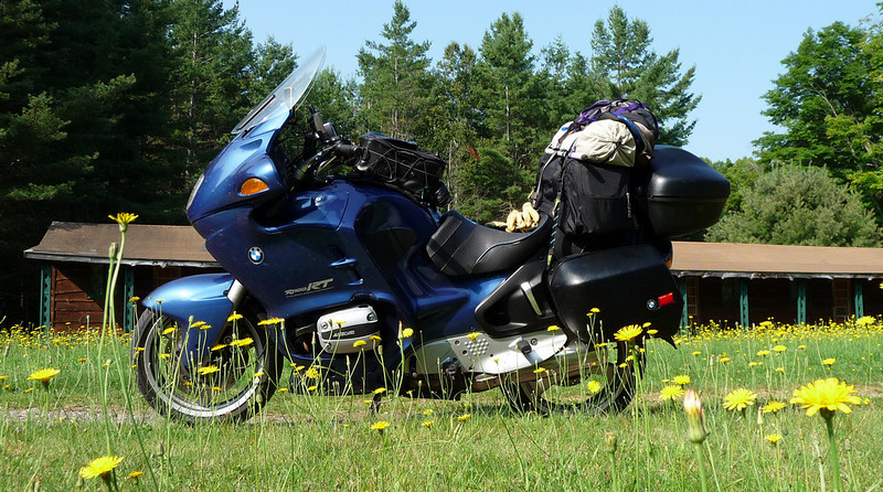 BMW R1100RT traveling in the Adirondacks